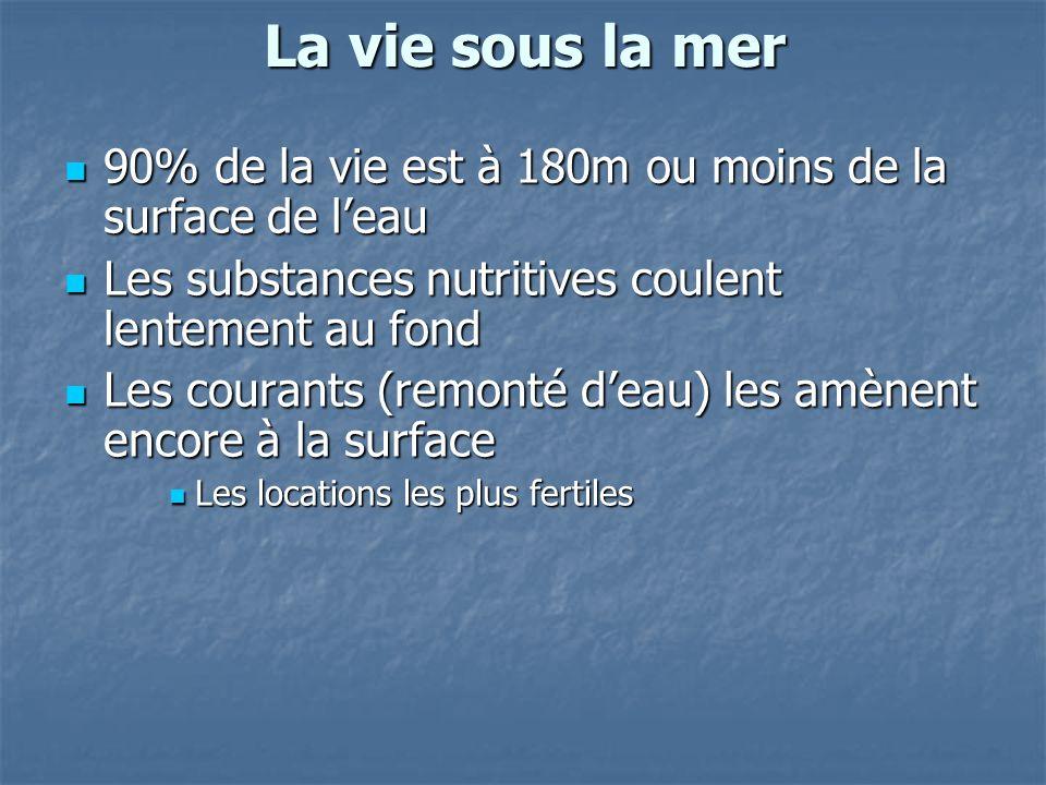 La vie sous la mer 90% de la vie est à 180m ou moins de la surface de leau 90% de la vie est à 180m ou moins de la surface de leau Les substances nutr