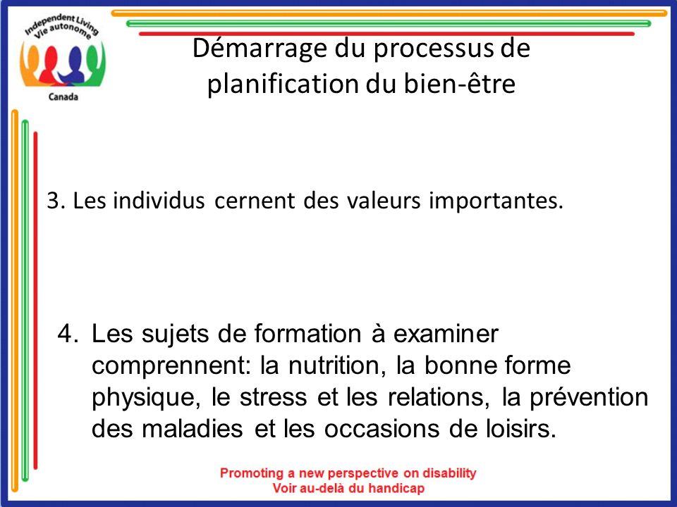 Démarrage du processus de planification du bien-être 3. Les individus cernent des valeurs importantes. 4. Les sujets de formation à examiner comprenne
