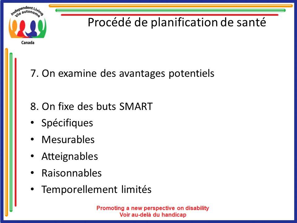 Procédé de planification de santé 7. On examine des avantages potentiels 8. On fixe des buts SMART Spécifiques Mesurables Atteignables Raisonnables Te