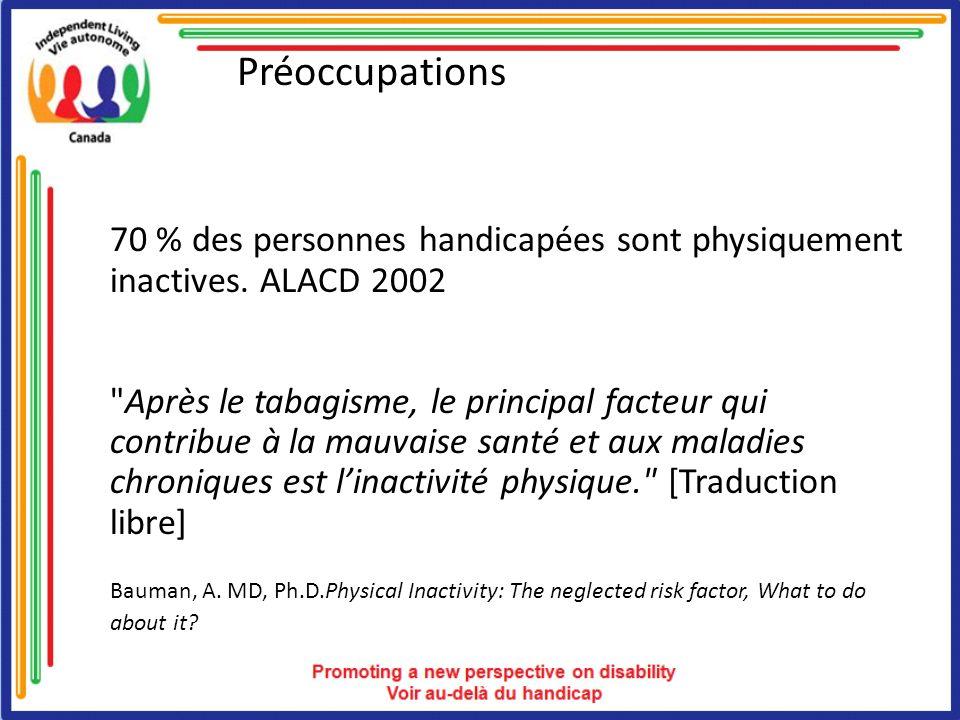 Préoccupations 70 % des personnes handicapées sont physiquement inactives. ALACD 2002