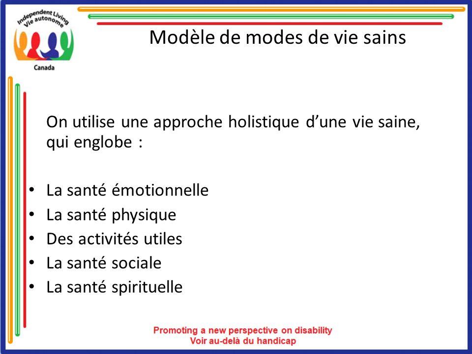 Modèle de modes de vie sains On utilise une approche holistique dune vie saine, qui englobe : La santé émotionnelle La santé physique Des activités ut