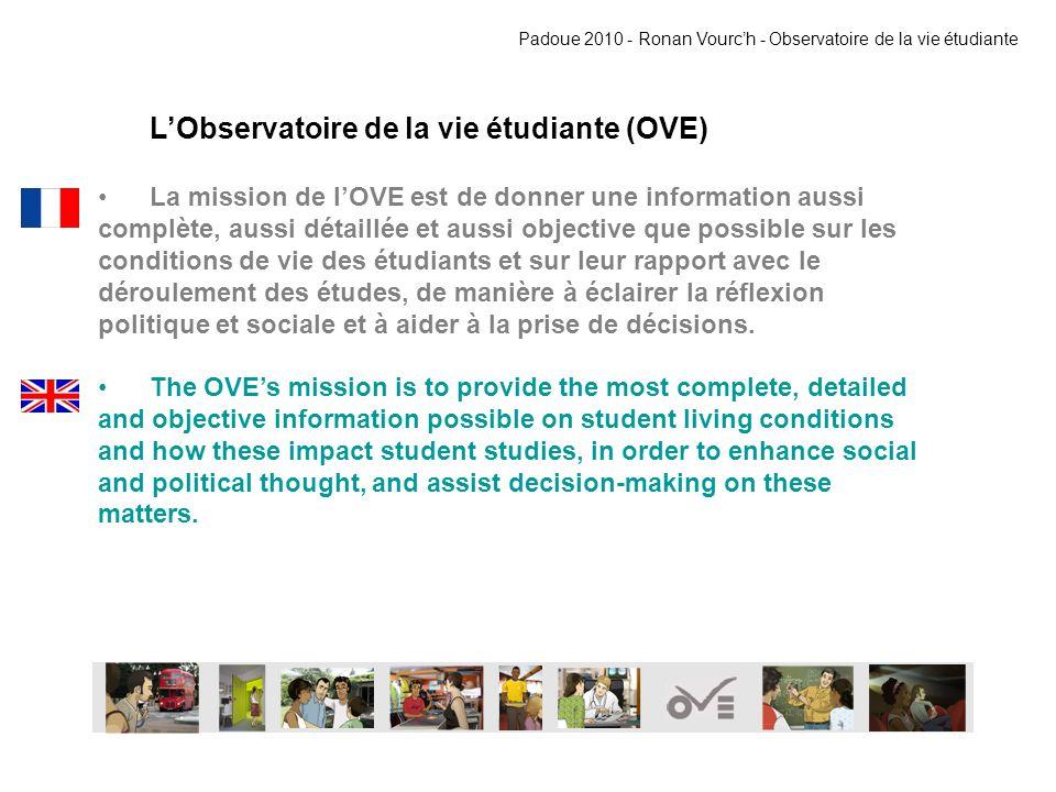 LObservatoire de la vie étudiante (OVE) La mission de lOVE est de donner une information aussi complète, aussi détaillée et aussi objective que possible sur les conditions de vie des étudiants et sur leur rapport avec le déroulement des études, de manière à éclairer la réflexion politique et sociale et à aider à la prise de décisions.