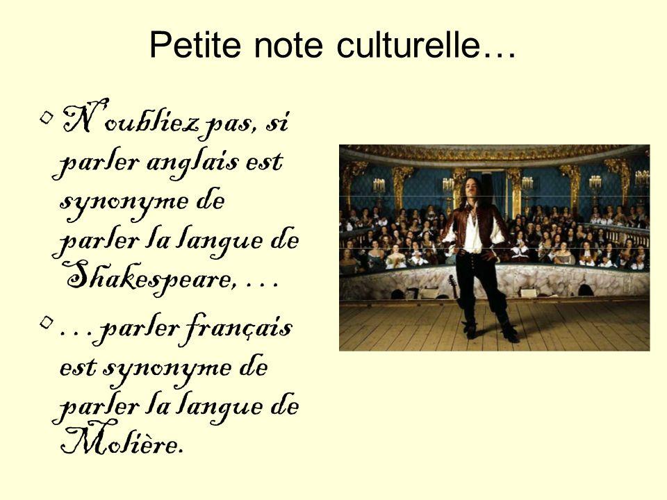 Petite note culturelle… Noubliez pas, si parler anglais est synonyme de parler la langue de Shakespeare, … …parler français est synonyme de parler la