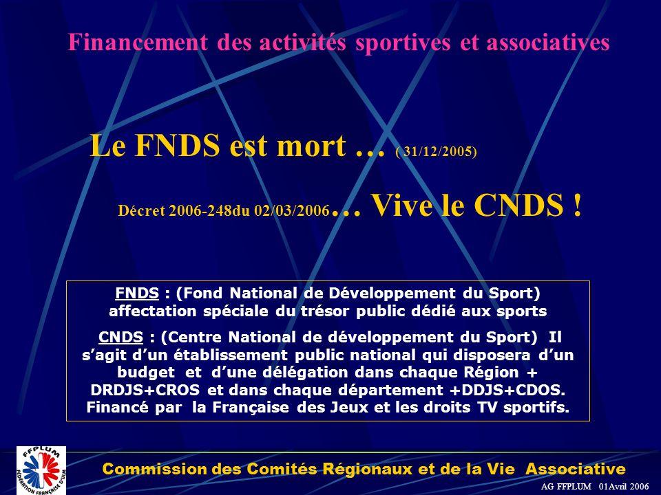 Commission des Comités Régionaux et de la Vie Associative AG FFPLUM 01Avril 2006 Le FNDS est mort … ( 31/12/2005) Décret 2006-248du 02/03/2006 … Vive le CNDS .