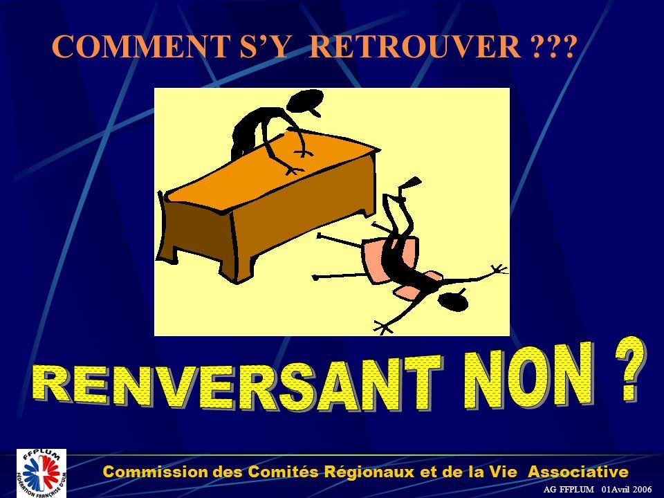 Commission des Comités Régionaux et de la Vie Associative AG FFPLUM 01Avril 2006 COMMENT SY RETROUVER ???