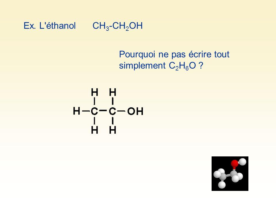 Ex. L'éthanolCH 3 -CH 2 OH Pourquoi ne pas écrire tout simplement C 2 H 6 O ?