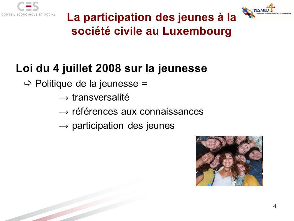 4 Loi du 4 juillet 2008 sur la jeunesse Politique de la jeunesse = transversalité références aux connaissances participation des jeunes La participati