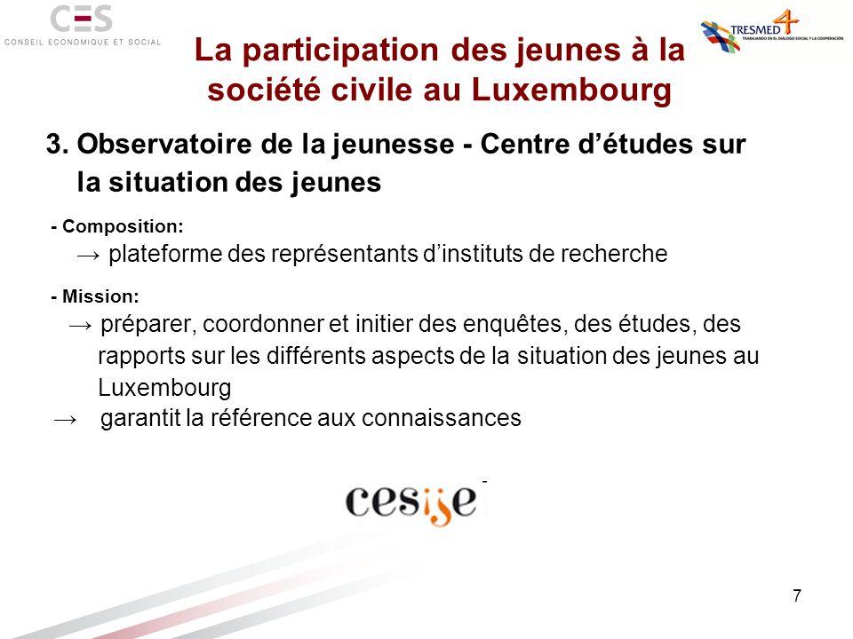 7 3. Observatoire de la jeunesse - Centre détudes sur la situation des jeunes - Composition: plateforme des représentants dinstituts de recherche - Mi