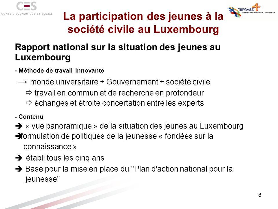 8 Rapport national sur la situation des jeunes au Luxembourg - Méthode de travail innovante monde universitaire + Gouvernement + société civile travai