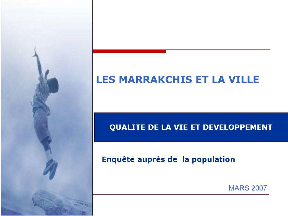 LES MARRAKCHIS ET LA VILLE MARS 2007 QUALITE DE LA VIE ET DEVELOPPEMENT Enquête auprès de la population