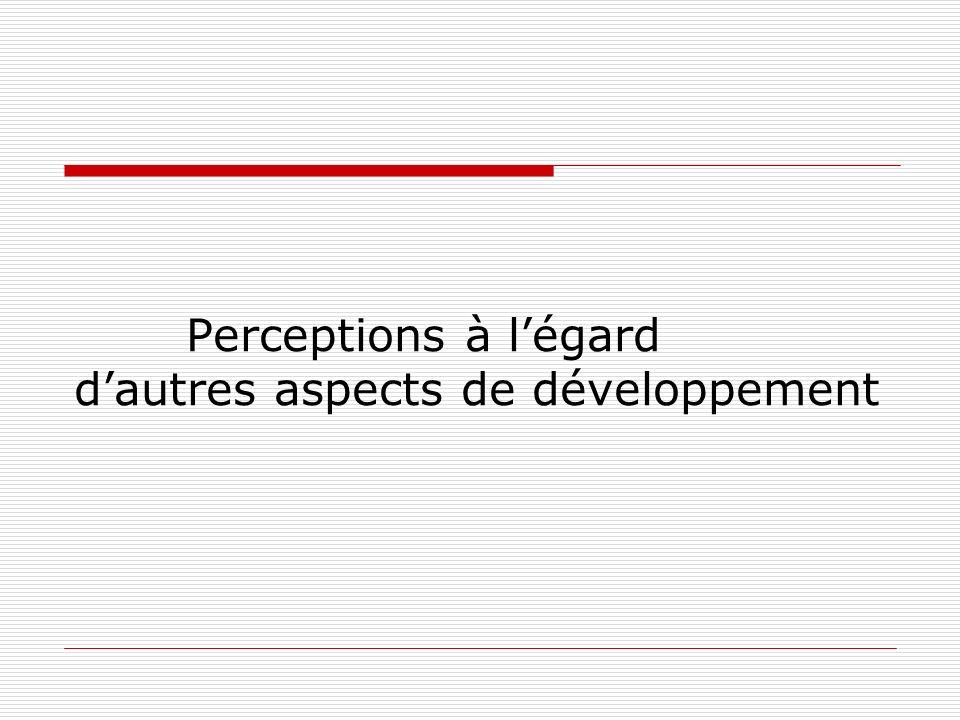 Perceptions à légard dautres aspects de développement