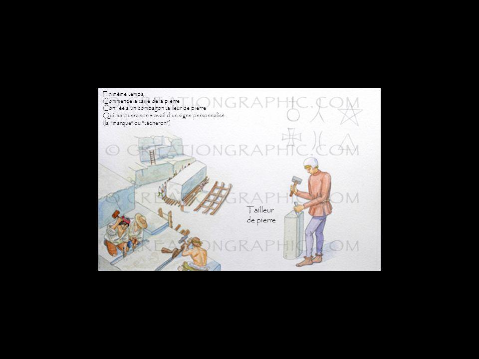 Chantier pierre En même temps, Commence la taille de la pierre Confiée à un compagon tailleur de pierre Qui marquera son travail dun signe personnalisé (la marque ou tâcheron) Tailleur de pierre