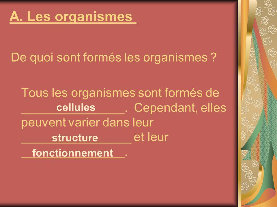 A. Les organismes De quoi sont formés les organismes ? Tous les organismes sont formés de _______________. Cependant, elles peuvent varier dans leur _
