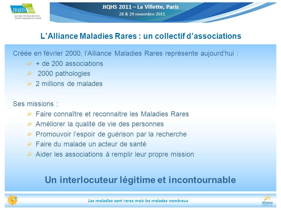 JIQHS 2011 – La Villette, Paris 28 & 29 novembre 2011 Les maladies sont rares mais les malades nombreux LAlliance Maladies Rares : un collectif dassoc
