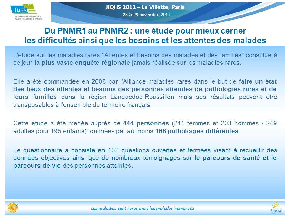 JIQHS 2011 – La Villette, Paris 28 & 29 novembre 2011 Les maladies sont rares mais les malades nombreux Du PNMR1 au PNMR2 : une étude pour mieux cerne