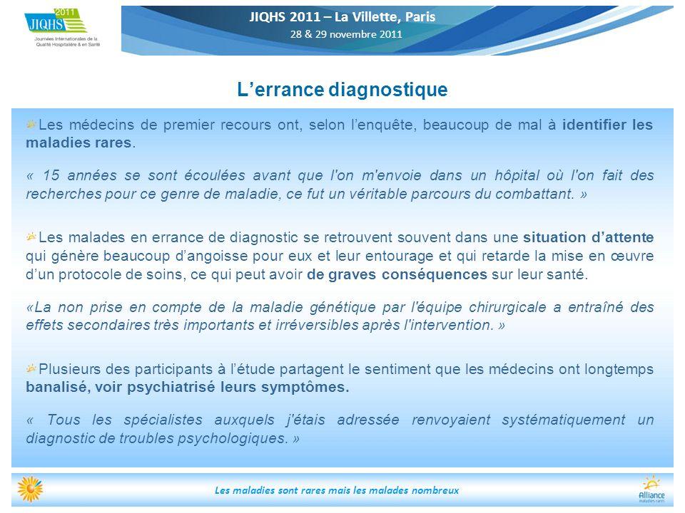 JIQHS 2011 – La Villette, Paris 28 & 29 novembre 2011 Les maladies sont rares mais les malades nombreux Lerrance diagnostique Les médecins de premier