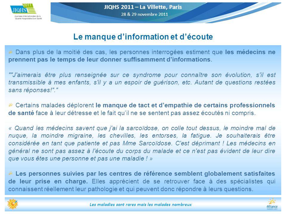 JIQHS 2011 – La Villette, Paris 28 & 29 novembre 2011 Les maladies sont rares mais les malades nombreux Le manque dinformation et découte Dans plus de