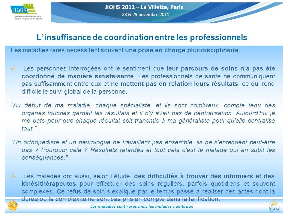 JIQHS 2011 – La Villette, Paris 28 & 29 novembre 2011 Les maladies sont rares mais les malades nombreux Linsuffisance de coordination entre les profes