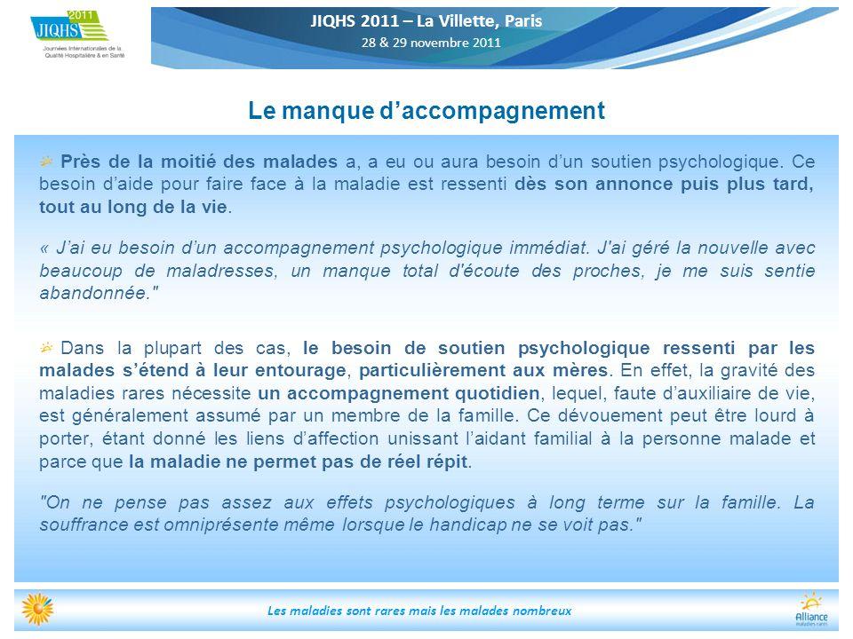 JIQHS 2011 – La Villette, Paris 28 & 29 novembre 2011 Les maladies sont rares mais les malades nombreux Le manque daccompagnement Près de la moitié de