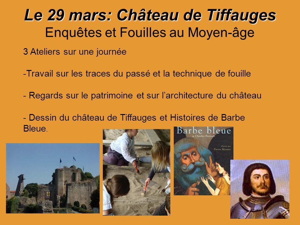 Le 29 mars: Château de Tiffauges Le 29 mars: Château de Tiffauges Enquêtes et Fouilles au Moyen-âge 3 Ateliers sur une journée -Travail sur les traces