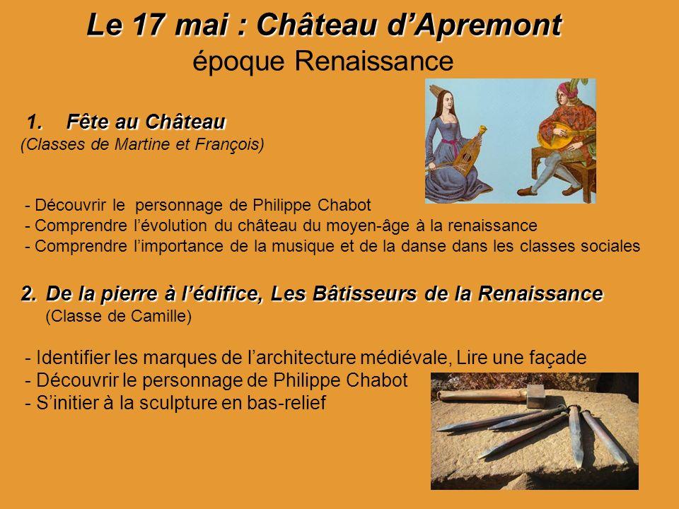 Le 17 mai :Château dApremont Le 17 mai : Château dApremont époque Renaissance. Fête au Château 1. Fête au Château (Classes de Martine et François) - D