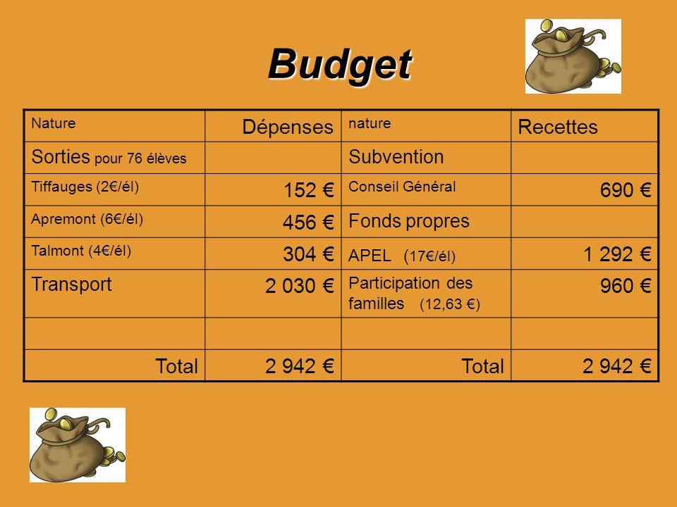 Budget Nature Dépenses nature Recettes Sorties pour 76 élèves Subvention Tiffauges (2/él) 152 Conseil Général 690 Apremont (6/él) 456 Fonds propres Ta