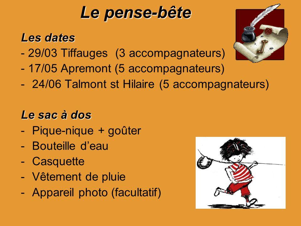 Le pense-bête Les dates - 29/03 Tiffauges (3 accompagnateurs) - 17/05 Apremont (5 accompagnateurs) -24/06 Talmont st Hilaire (5 accompagnateurs) Le sa