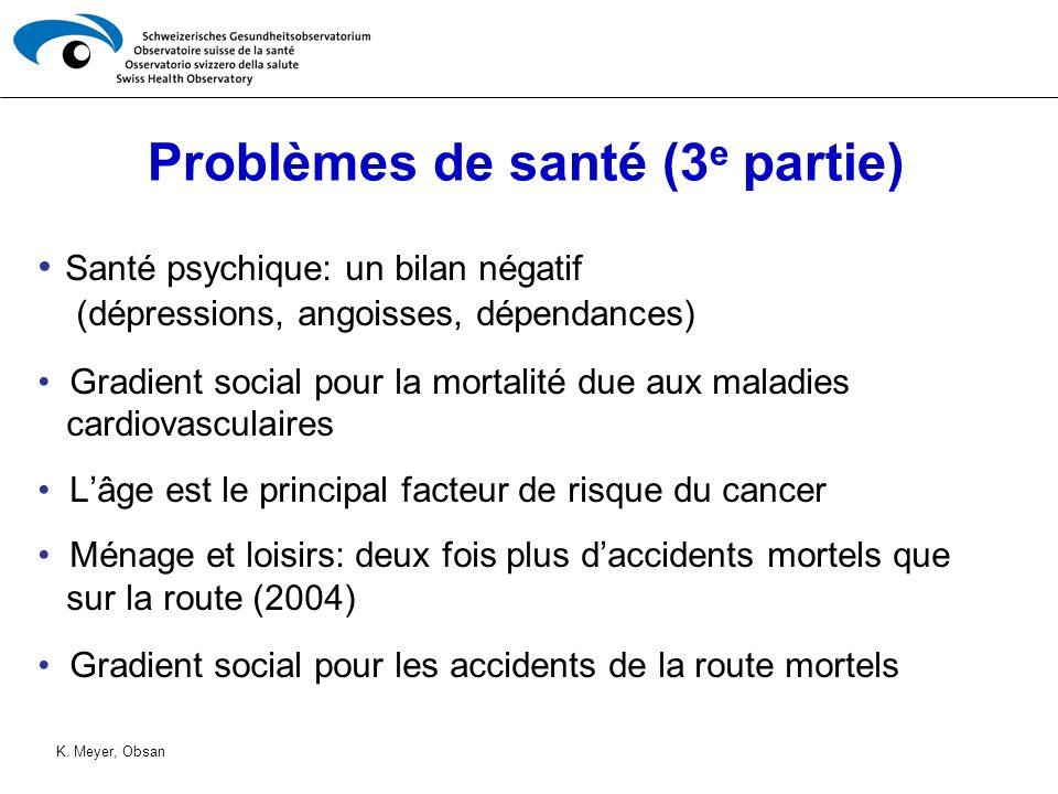 Problèmes de santé (3 e partie) Santé psychique: un bilan négatif (dépressions, angoisses, dépendances) Gradient social pour la mortalité due aux mala