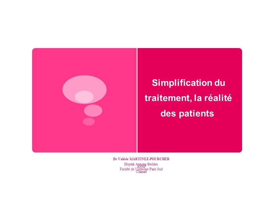 Simplification du traitement, la réalité des patients Dr Valérie MARTINEZ-POURCHER Hôpital Antoine Béclère, APHP Faculté de Médecine Paris Sud Clamart
