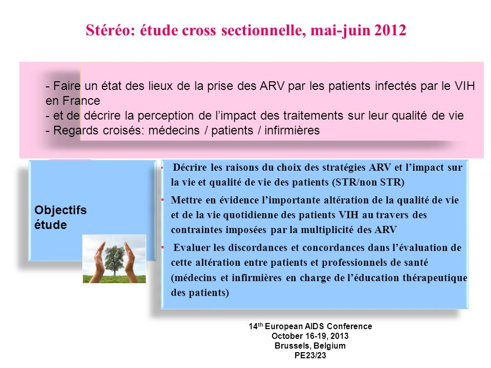 Contexte et objectifs Objectifs étude Décrire les raisons du choix des stratégies ARV et limpact sur la vie et qualité de vie des patients (STR/non ST