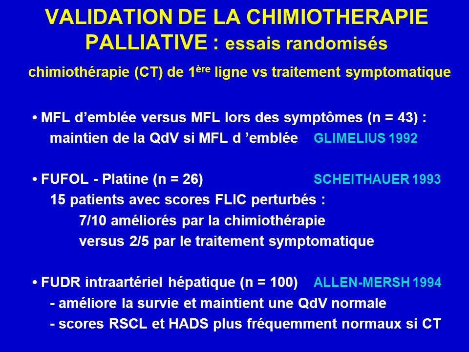 VALIDATION DE LA CHIMIOTHERAPIE PALLIATIVE : essais randomisés chimiothérapie (CT) de 1 ère ligne vs traitement symptomatique MFL demblée versus MFL lors des symptômes (n = 43) : maintien de la QdV si MFL d emblée GLIMELIUS 1992 FUFOL - Platine (n = 26) SCHEITHAUER 1993 15 patients avec scores FLIC perturbés : 7/10 améliorés par la chimiothérapie versus 2/5 par le traitement symptomatique FUDR intraartériel hépatique (n = 100) ALLEN-MERSH 1994 - améliore la survie et maintient une QdV normale - scores RSCL et HADS plus fréquemment normaux si CT
