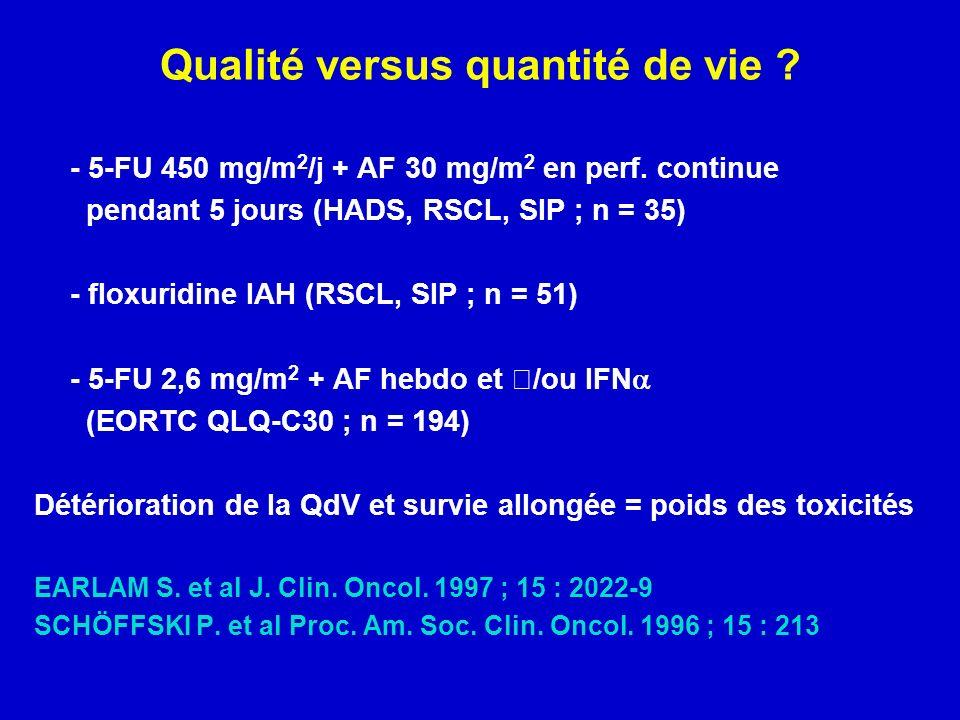 Qualité versus quantité de vie .- 5-FU 450 mg/m 2 /j + AF 30 mg/m 2 en perf.