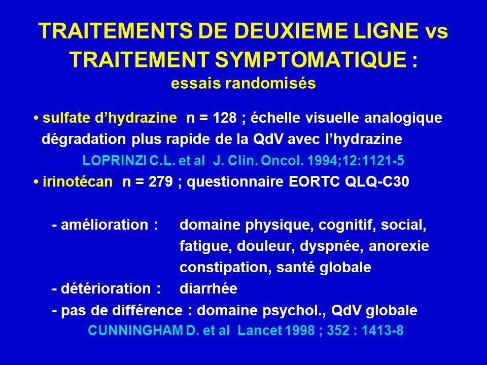 TRAITEMENTS DE DEUXIEME LIGNE vs TRAITEMENT SYMPTOMATIQUE : essais randomisés sulfate dhydrazine n = 128 ; échelle visuelle analogique dégradation plus rapide de la QdV avec lhydrazine LOPRINZI C.L.