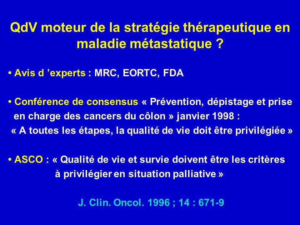 QdV moteur de la stratégie thérapeutique en maladie métastatique .