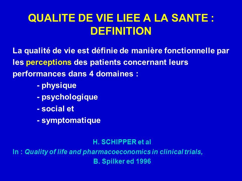QUALITE DE VIE LIEE A LA SANTE : DEFINITION La qualité de vie est définie de manière fonctionnelle par les perceptions des patients concernant leurs performances dans 4 domaines : - physique - psychologique - social et - symptomatique H.