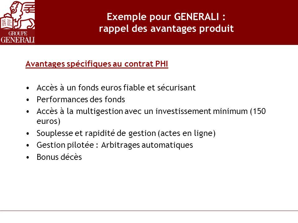 Exemple pour GENERALI : rappel des avantages produit Avantages spécifiques au contrat PHI Accès à un fonds euros fiable et sécurisant Performances des