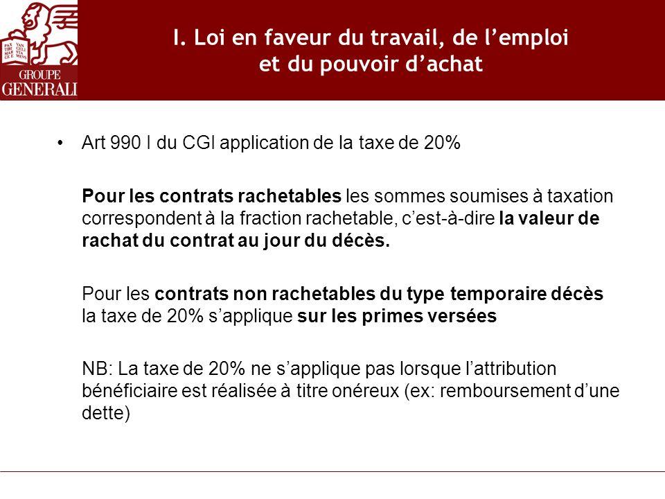 I. Loi en faveur du travail, de lemploi et du pouvoir dachat Art 990 I du CGI application de la taxe de 20% Pour les contrats rachetables les sommes s