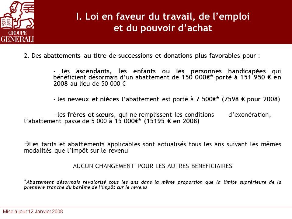 Mise à jour 12 Janvier 2008 I. Loi en faveur du travail, de lemploi et du pouvoir dachat 2. Des abattements au titre de successions et donations plus