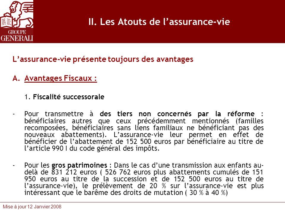 Mise à jour 12 Janvier 2008 II. Les Atouts de lassurance-vie Lassurance-vie présente toujours des avantages A.Avantages Fiscaux : 1. Fiscalité success