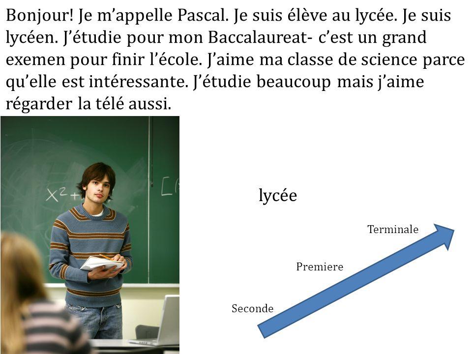 Bonjour! Je mappelle Pascal. Je suis élève au lycée. Je suis lycéen. Jétudie pour mon Baccalaureat- cest un grand exemen pour finir lécole. Jaime ma c