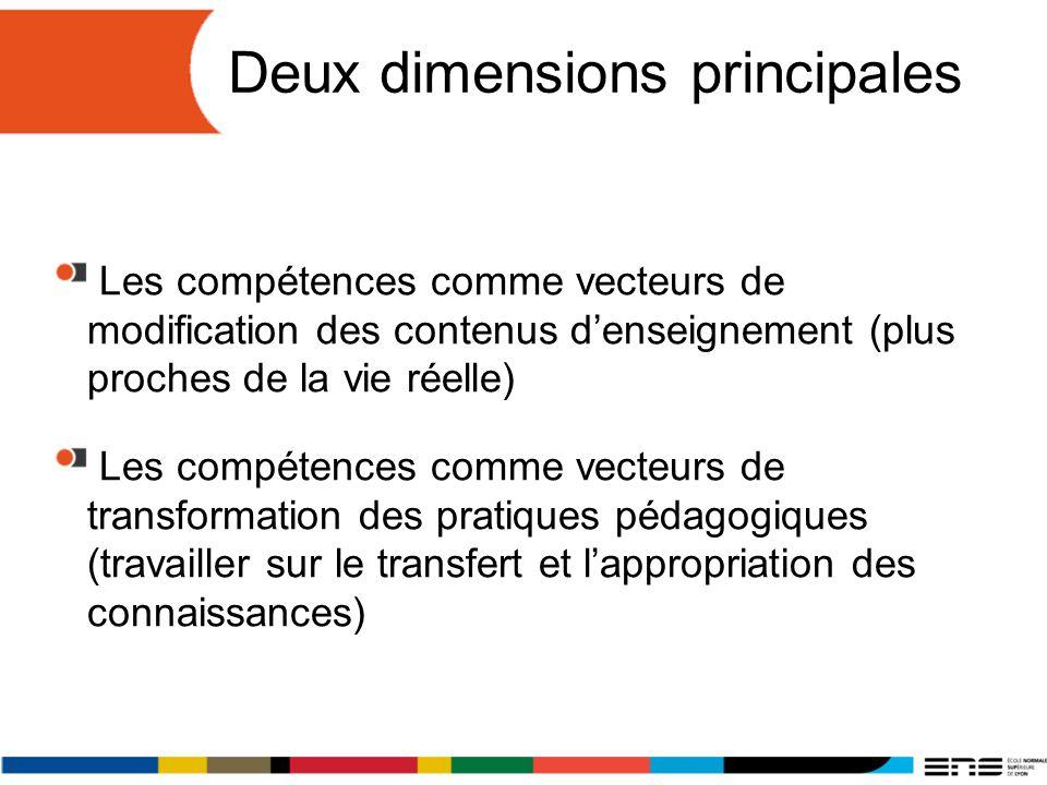 Deux dimensions principales Les compétences comme vecteurs de modification des contenus denseignement (plus proches de la vie réelle) Les compétences comme vecteurs de transformation des pratiques pédagogiques (travailler sur le transfert et lappropriation des connaissances)