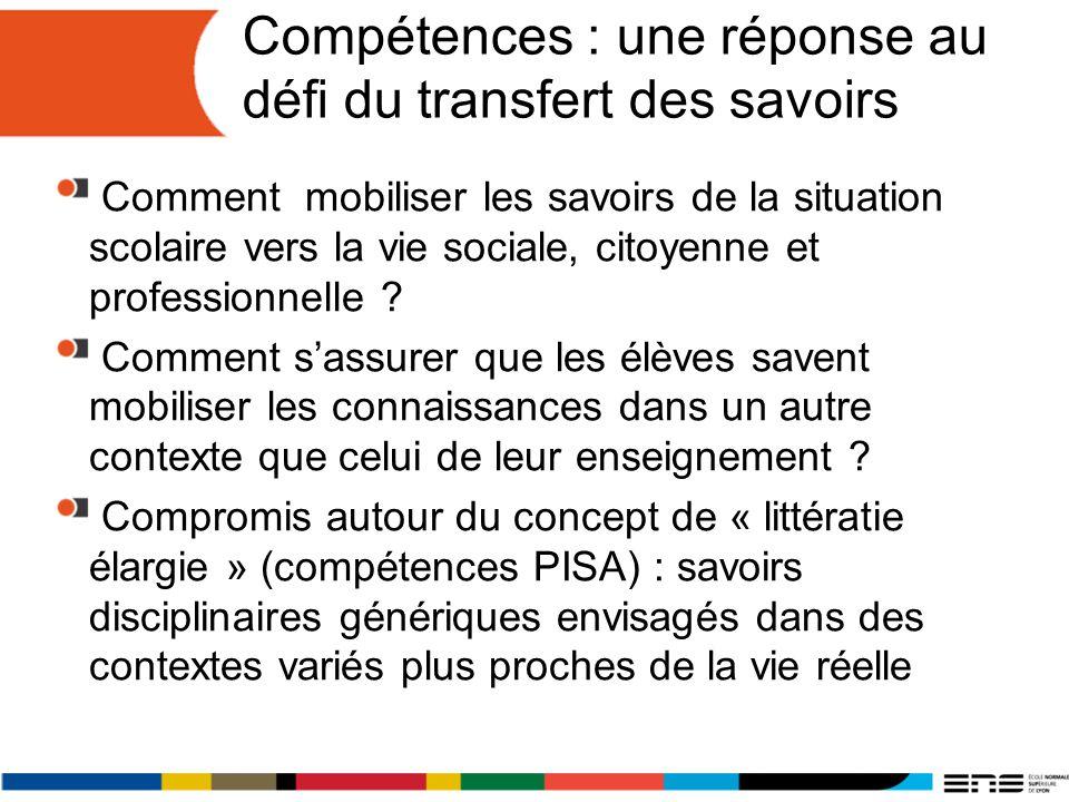 Compétences : une réponse au défi du transfert des savoirs Comment mobiliser les savoirs de la situation scolaire vers la vie sociale, citoyenne et professionnelle .