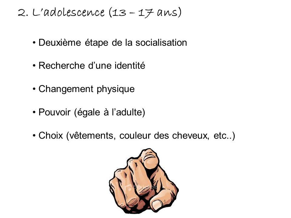 2. Ladolescence (13 – 17 ans) Deuxième étape de la socialisation Recherche dune identité Changement physique Pouvoir (égale à ladulte) Choix (vêtement