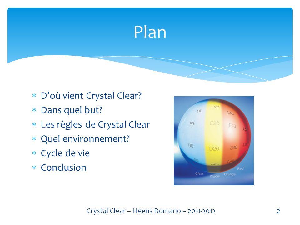 Doù vient Crystal Clear.Dans quel but. Les règles de Crystal Clear Quel environnement.