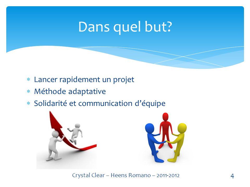 Lancer rapidement un projet Méthode adaptative Solidarité et communication déquipe Dans quel but.