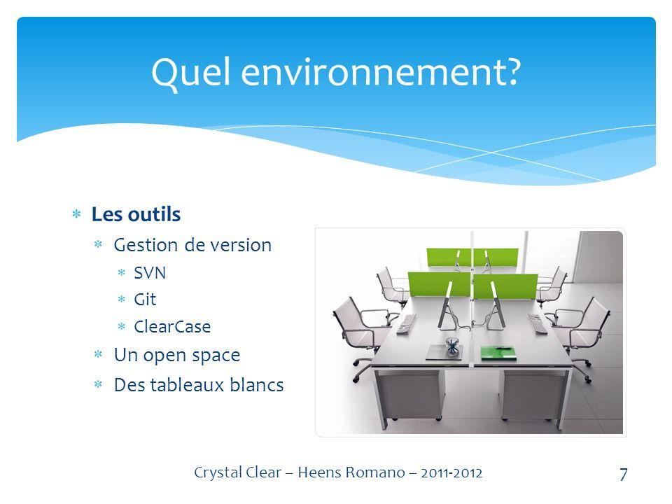 Les outils Gestion de version SVN Git ClearCase Un open space Des tableaux blancs Quel environnement.