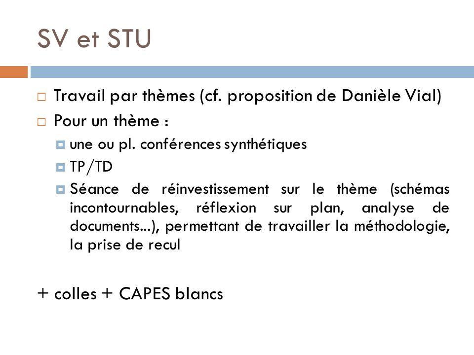 SV et STU Travail par thèmes (cf.proposition de Danièle Vial) Pour un thème : une ou pl.