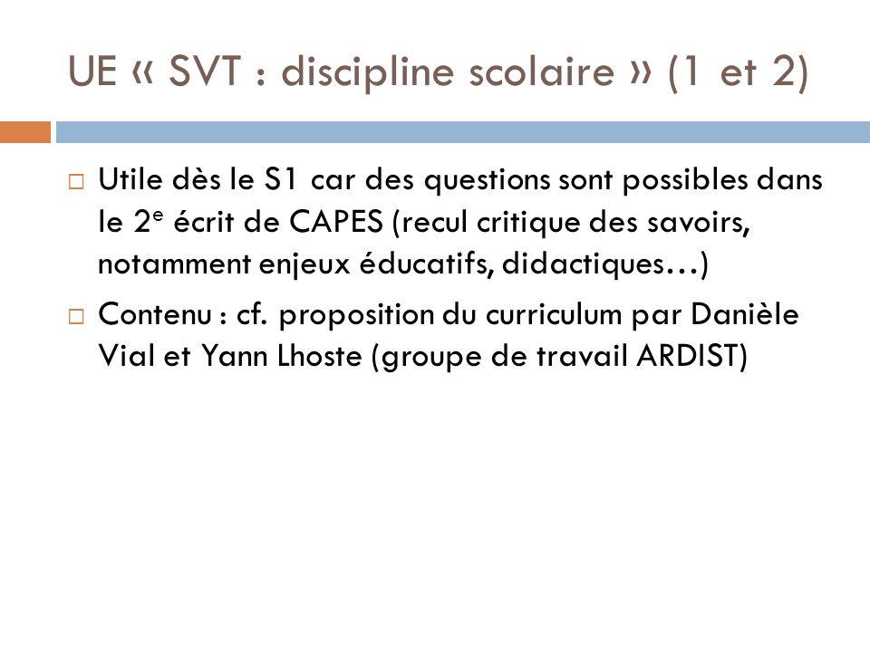 UE « SVT : discipline scolaire » (1 et 2) Utile dès le S1 car des questions sont possibles dans le 2 e écrit de CAPES (recul critique des savoirs, notamment enjeux éducatifs, didactiques…) Contenu : cf.