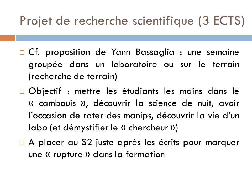 Projet de recherche scientifique (3 ECTS) Cf.