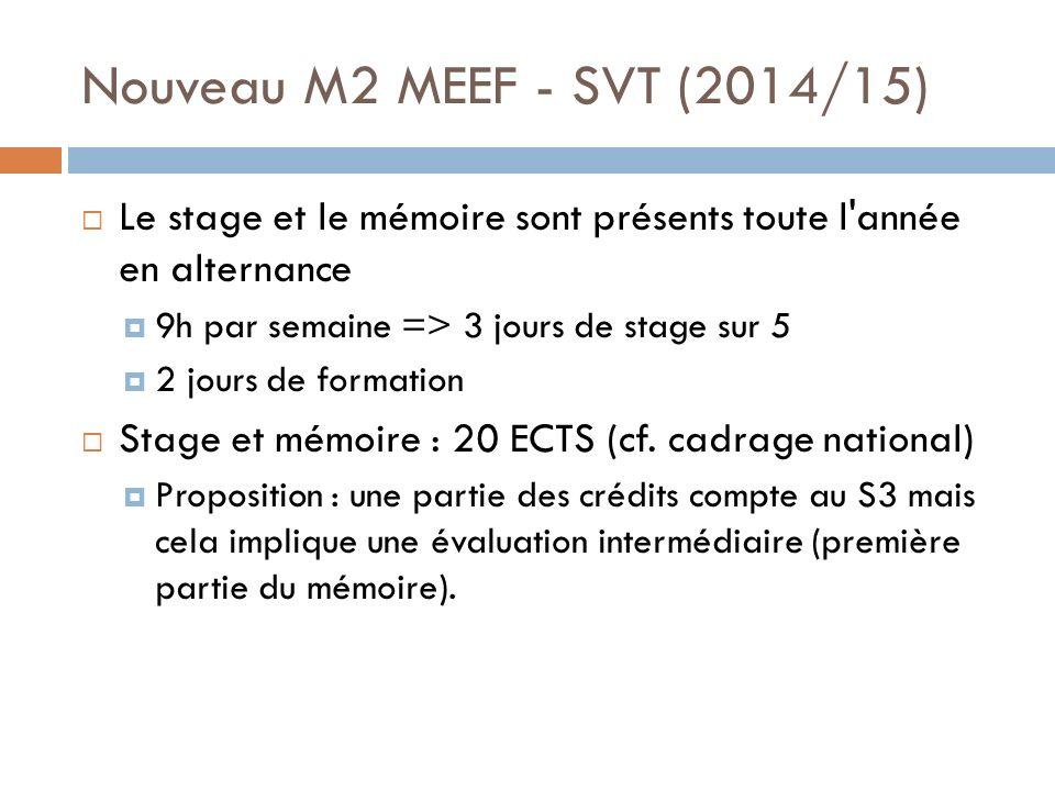 Nouveau M2 MEEF - SVT (2014/15) Le stage et le mémoire sont présents toute l année en alternance 9h par semaine => 3 jours de stage sur 5 2 jours de formation Stage et mémoire : 20 ECTS (cf.